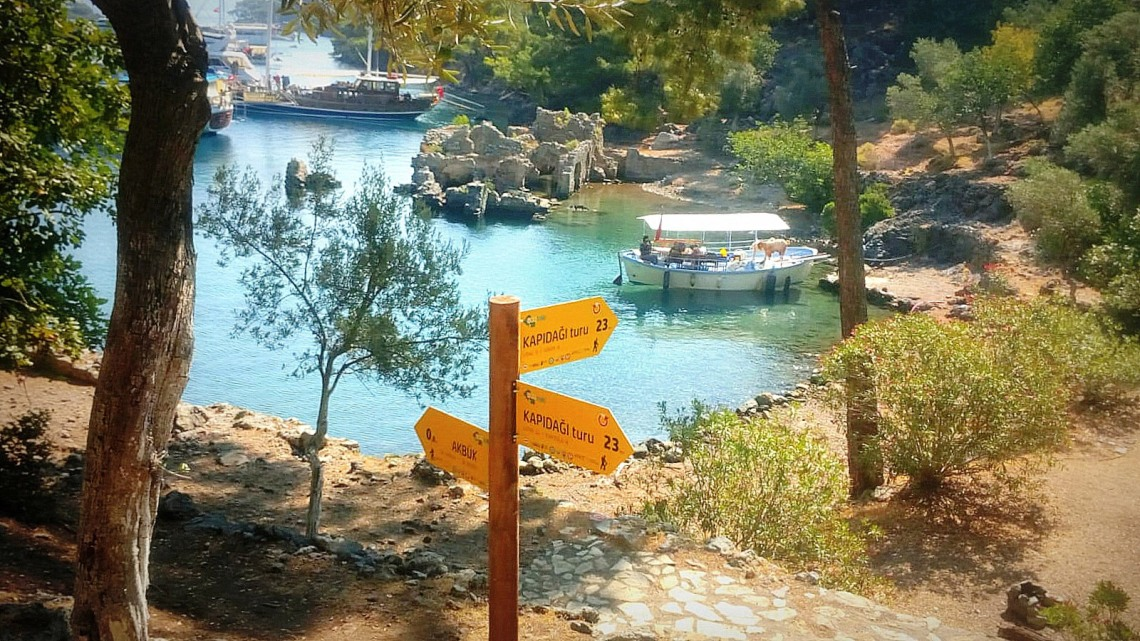 Hiking Signpost at Hamam Cove.